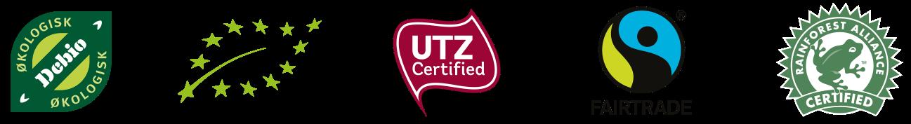 Økologisk, UTZ Fairtrade og Rainforest alliance sertifisert