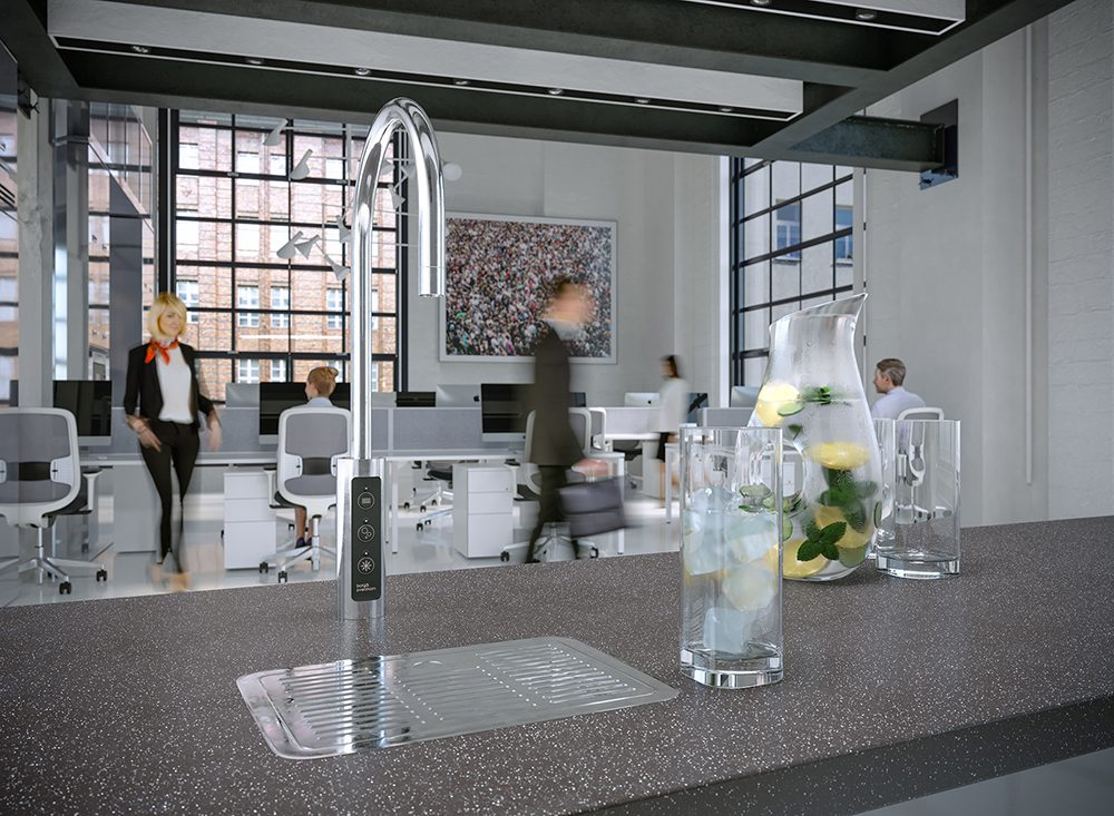viser design tappekran for drikkevann i kontorfellesskap
